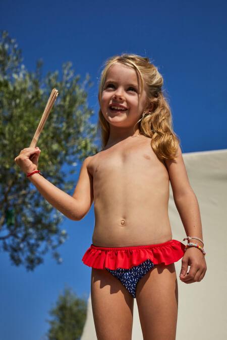 Baby girl wearing Navy Kangaroos bikini bottoms