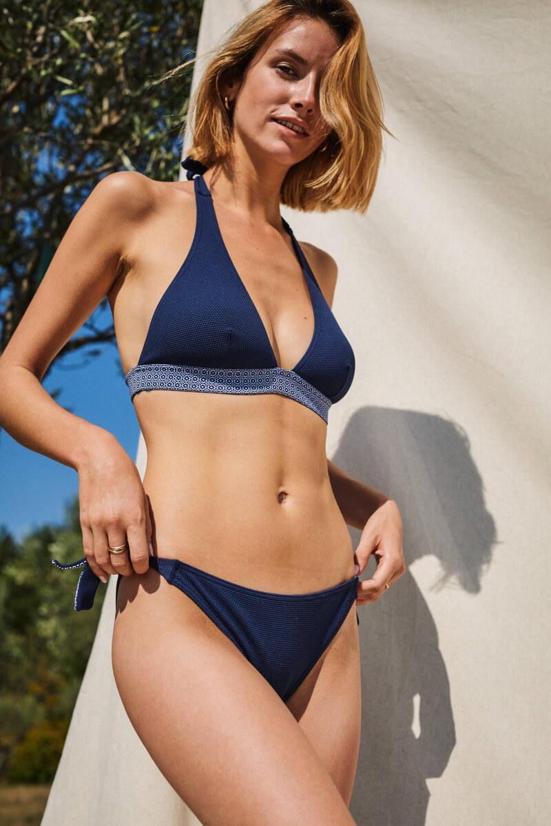 maillot de bain deux-pièces femme navy azulejos