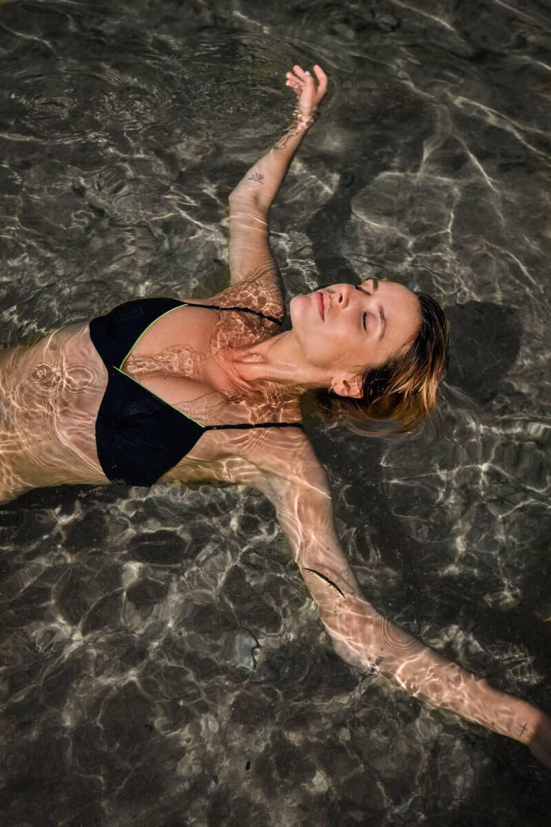woman wearing a two-piece swimsuit intense blue