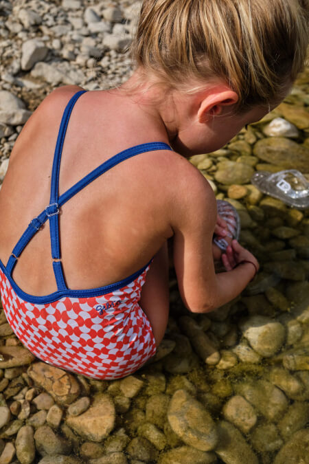 girl wearing a one-piece swimsuit Red Woodstock