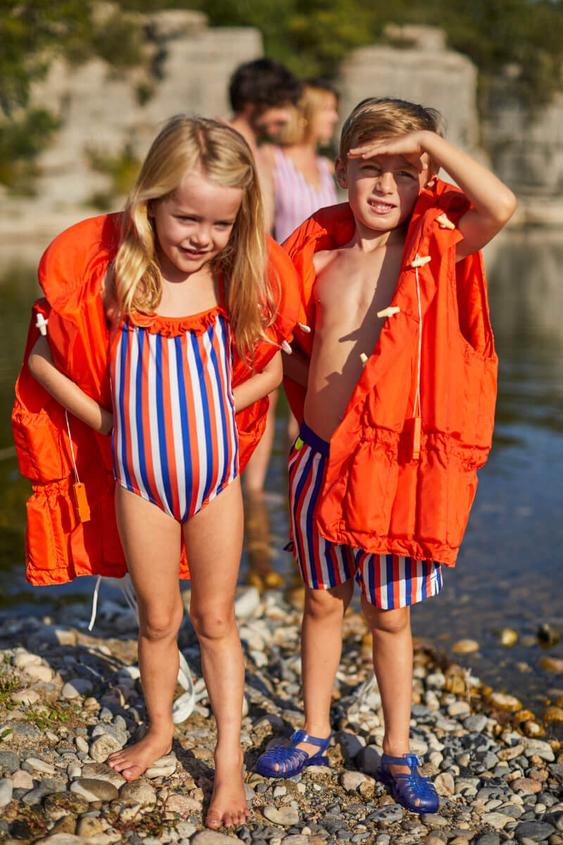 girls wearing a one-piece swimsuit La Baule