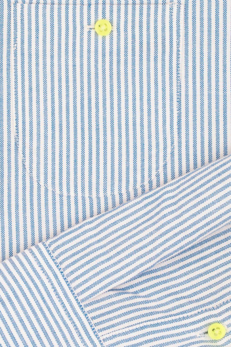blue striped mandarin collar shirt for men focus