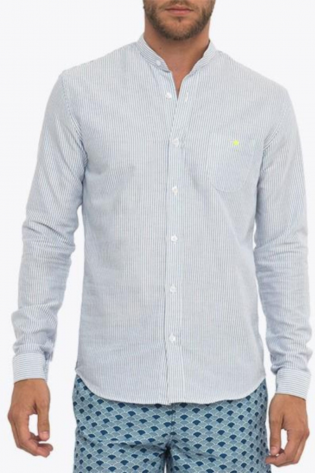 blue striped mandarin collar shirt for men