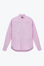 Chemise rayée rose col mao