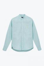 green striped mandarin collar shirt for men