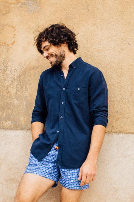 man wearing a dark navy shirt 2